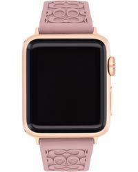 COACH Signature C Rubber Apple Watch Strap - Pink