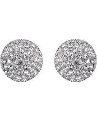 Nina Small Pavé Button Earrings - Metallic
