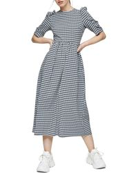 TOPSHOP Black And White Gingham Cross Back Smock Midi Dress