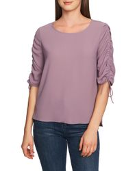 1.STATE Ruched Detail Tie Sleeve Blouse - Purple