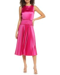 Fraiche By J Pleated Satin Cocktail Dress - Purple