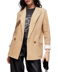TOPSHOP Raw Edge Double Knit Blazer - Natural