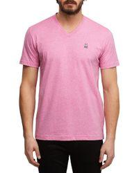 Psycho Bunny Men/'s Gray Heather Pima Cotton V-Neck Short Sleeve T-Shirt