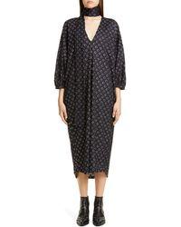 Roseanna Polka Dot Midi Dress With Removable Scarf - Black