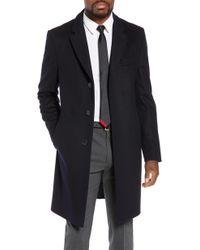 BOSS Nye Regular Fit Solid Wool & Cashmere Topcoat - Blue