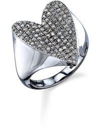Sheryl Lowe Pavé Diamond Heart Ring - Metallic