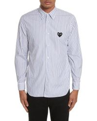 Comme des Garçons - Play Black Heart Stripe Oxford Shirt - Lyst