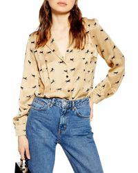 TOPSHOP Horse Print Shirt - Natural