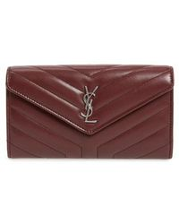 Saint Laurent - Loulou Large Matelasse Leather Flap Wallet - - Lyst