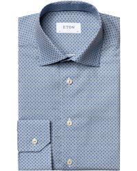 Eton Slim Fit Blue Geo Print Dress Shirt
