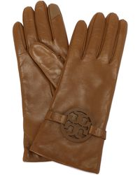 Tory Burch Miller Leather Gloves - Black
