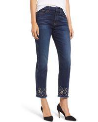 Jen7 - Embellished Ankle Straight Leg Jeans - Lyst