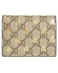Gucci - Gg Supreme Bee Canvas Bifold Wallet - - Lyst
