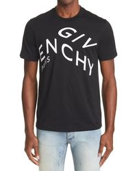 Givenchy Refracted Logo Slim Fit Men's Graphic Tee - Black
