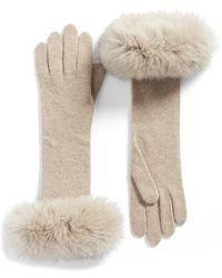 Max Mara | Knit Gloves With Genuine Fox Fur Trim | Lyst