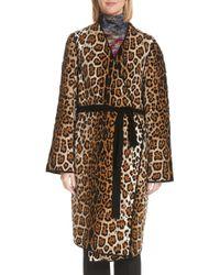 Fuzzi Mixed Leopard Wrap Coat - Brown