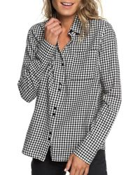 Roxy - Concrete Streets Gingham Flannel Shirt - Lyst