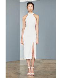 Amsale Sheer Back Faille Sheath Dress - White