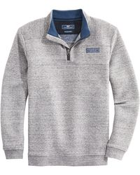 Vineyard Vines Saltwater Quarter Zip Men's Fleece Pullover - Gray