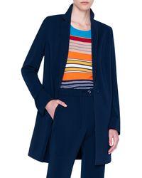 Akris Punto Laser Cut Crepe Blazer Coat - Blue