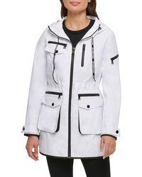 Karl Lagerfeld Hooded Tech Parka - White