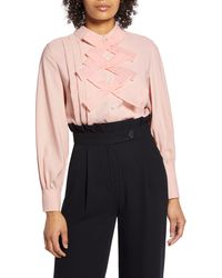 Halogen Halogen X Atlantic-pacific Bow Front Pleated Blouse - Pink
