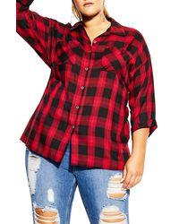 City Chic Check Boyfriend Shirt - Red