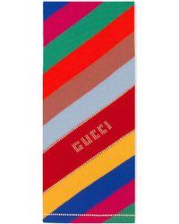 Gucci - Stripe Studded Logo Wool Scarf - Lyst