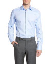 David Donahue - Trim Fit Cotton Dress Shirt - Lyst