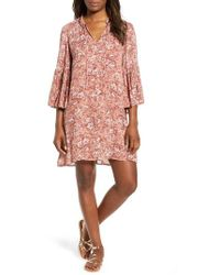 Lucky Brand - Printed Bell Sleeve Shift Dress - Lyst