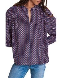 Rag & Bone Carly Printed Silk Blouse Relaxed Fit Top - Blue