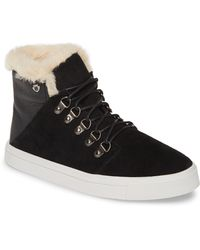 Minnetonka X Lottie Moss Faux Shearling High Top Sneaker - Black