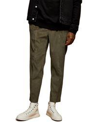 TOPMAN Corduroy Tapered Pants - Green