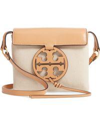 12cc2ad2b Tory Burch - Miller Canvas   Leather Crossbody Bag - Lyst