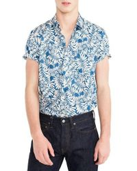 J.Crew | J.crew Secret Wash Short Sleeve Fern Print Sport Shirt | Lyst