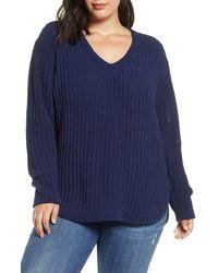 Caslon Caslon Chenille V-neck Sweater - Blue