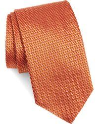 Eton of Sweden Geometric Silk Tie - Orange