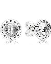 PANDORA - Radiant Logo Stud Earrings - Lyst