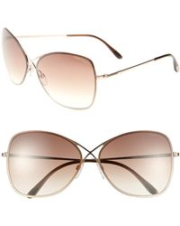529370039df Tom Ford -  colette  63mm OverShiny Rose Gold  Dark Brown - Lyst