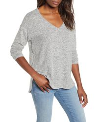 Gibson Cozy V-neck Top - Gray