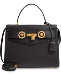 Versace Icon Leather Top Handle Shoulder Bag - Black