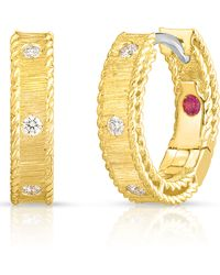 Roberto Coin Diamond Princess Huggie Hoop Earrings Diamonds - Metallic