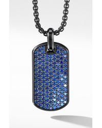 David Yurman Black Titanium & Sterling Silver Pavé Streamline® Tag With Blue Saphhires