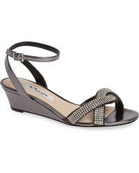 Nina - Florina Crystal Embellished Wedge Sandal - Lyst
