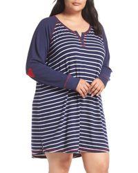 7017ee501b Lyst - Pj Salvage Stripe Nightshirt in Blue