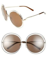 Chloé - 62mm OverGold/ Transparent Brown - Lyst