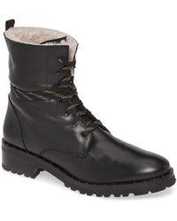 Frēda Salvador Genuine Shearling Lined Hiker Boot - Black