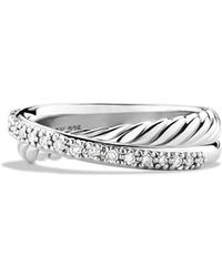 David Yurman - 'crossover' Ring With Diamonds - Lyst