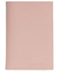 Longchamp - Calfskin Leather Passport Case - Lyst