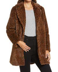 Halogen Leopard Print Faux Fur Coat - Brown